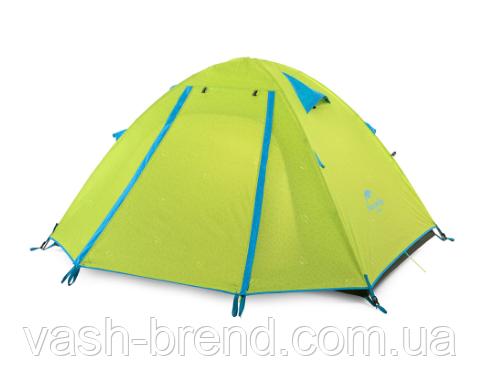 Двухслойная,4-х местная палатка с алюминиевыми дугами, зеленая.