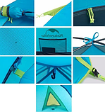 Двухслойная, 4-х местная палатка с алюминиевыми дугами, P-Series, синяя, фото 3