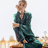 Піжама жіноча атласна на гудзиках. Комплект шовковий для дому, сну з довгим рукавом Зелений, фото 2