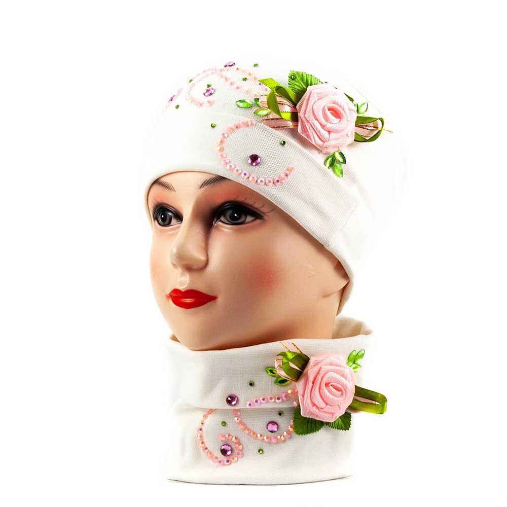 Трико шапка-бафф бело-розовый