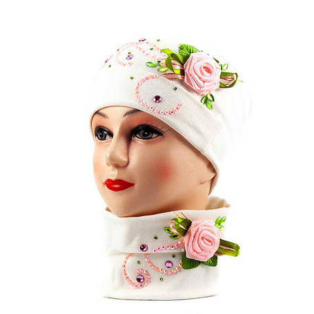 Трико шапка-бафф бело-розовый, фото 2
