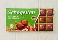 Шоколад Schogetten (Германия) 100, Alpine Milk Chocolate with Hazelnuts (молочный с фундуком), Молочный