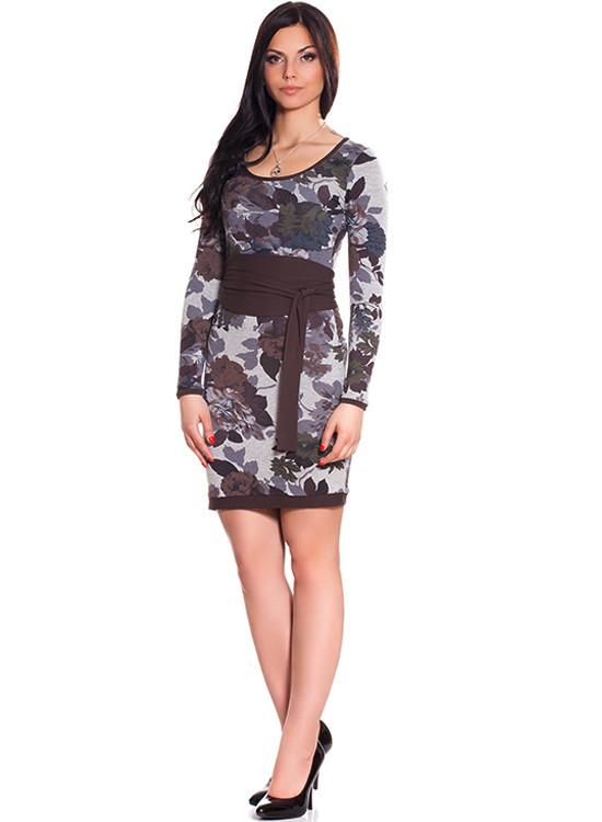Стильное женское платье с пояском (S-2XL в расцветках)