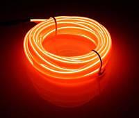 Гибкий светодиодный неон Оранжевый Neon Glow Light Orange - 3 метра ленты на батарейках 2 AA