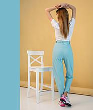 Женские брюки летние цвет голубой с поясом
