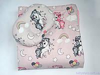 """Пледы для новорожденного + подушка, """"Единороги на розовом"""""""