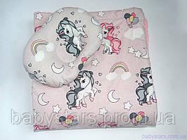 """Пледи для новонародженого + подушка, """"Єдинороги на рожевому"""""""