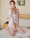 Пижама женская атласная на пуговицах. Комплект шелковый для дома, сна с длинным рукавом, XL Розовый, фото 2