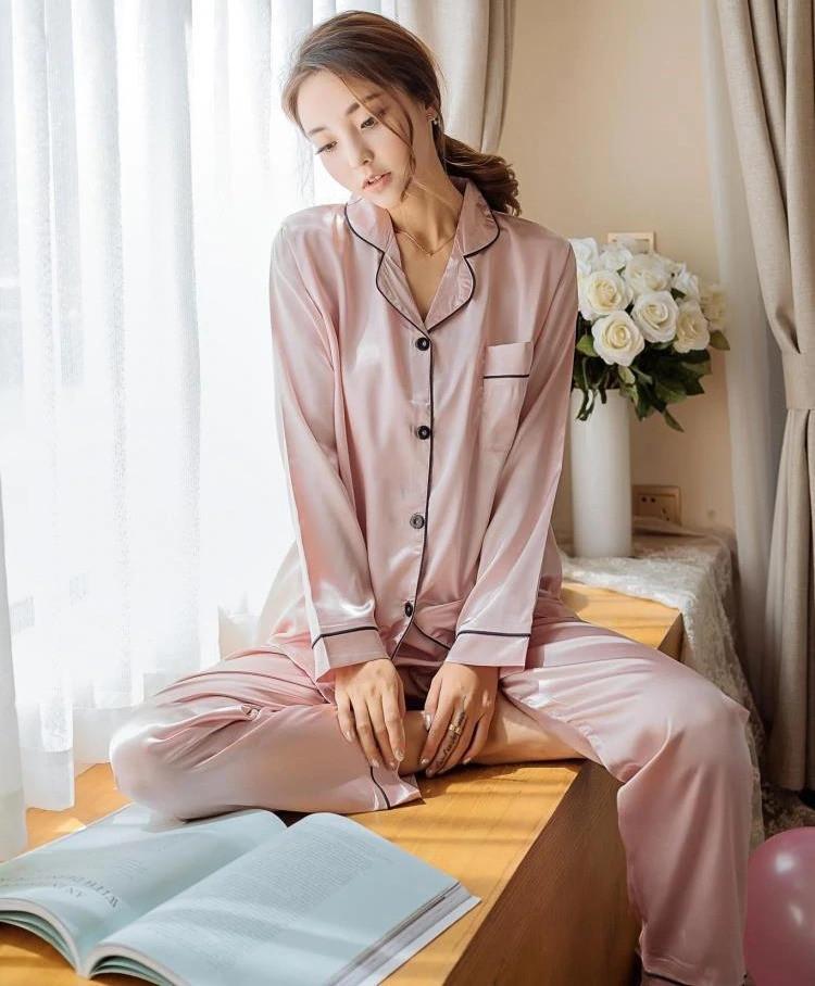 Пижама женская атласная на пуговицах. Комплект шелковый для дома, сна с длинным рукавом, XL Розовый