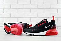 Кроссовки мужские в стиле Nike Air Max 270 код товара KD-11515. Черно-белые с красным
