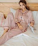 Пижама женская атласная на пуговицах. Комплект шелковый для дома, сна с длинным рукавом, XL Розовый, фото 3