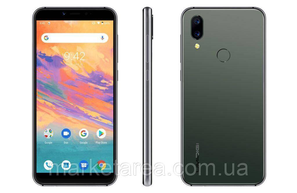 Смартфон золотистый с большим дисплеем и хорошей двойной камерой на 2 сим карты Umidigi A3X green 3/16 гб