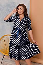 Женское платье горох на синем, размеры 48-62