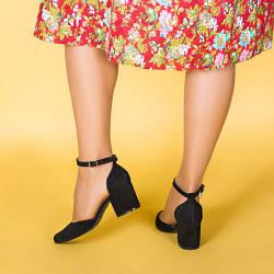 Туфли черные замшевые с ремешком на каблуке 6 см
