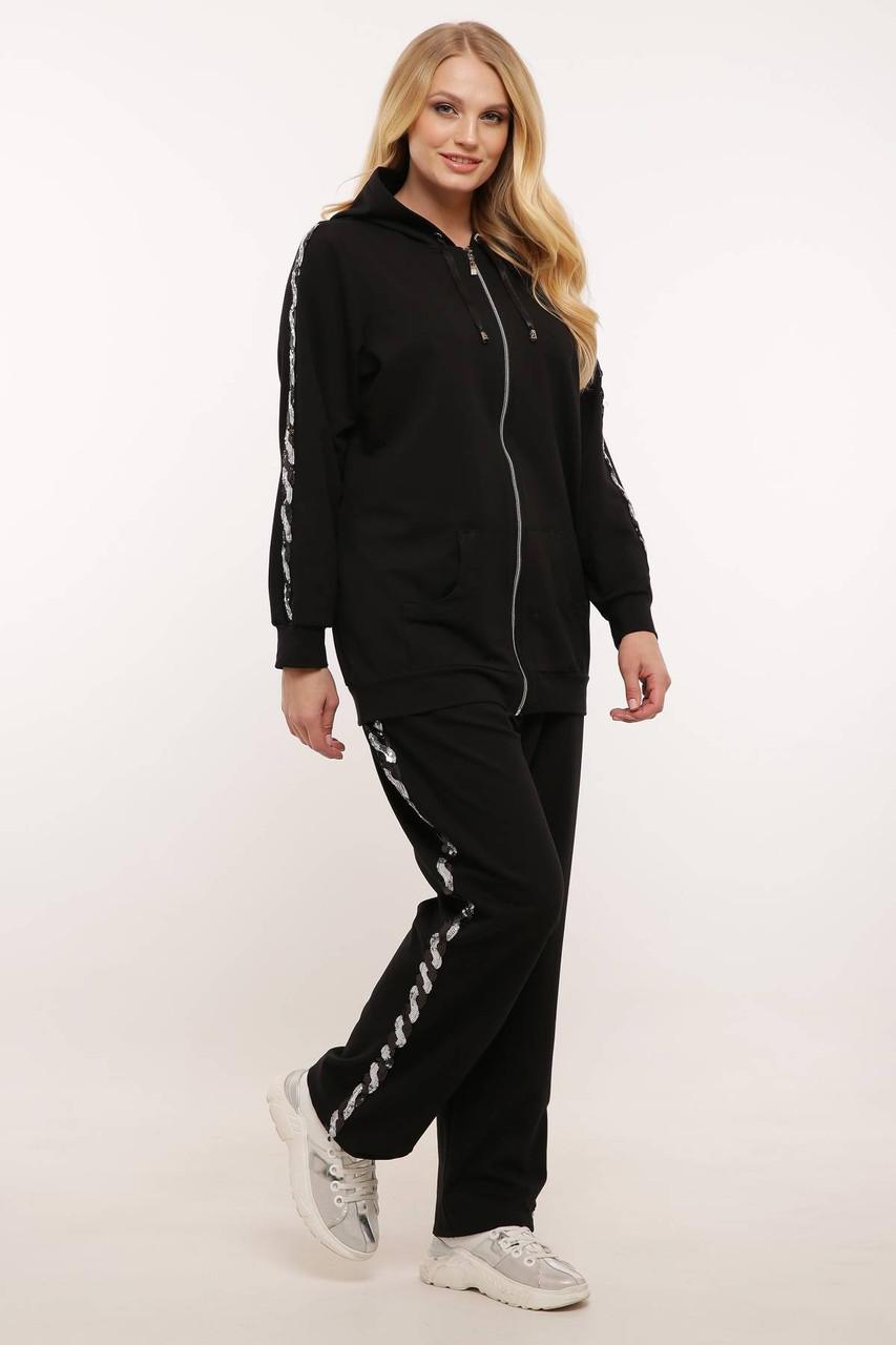 Спортивный костюм (серебряная змейка) ДОЛЬЧЕ черный (56-60)