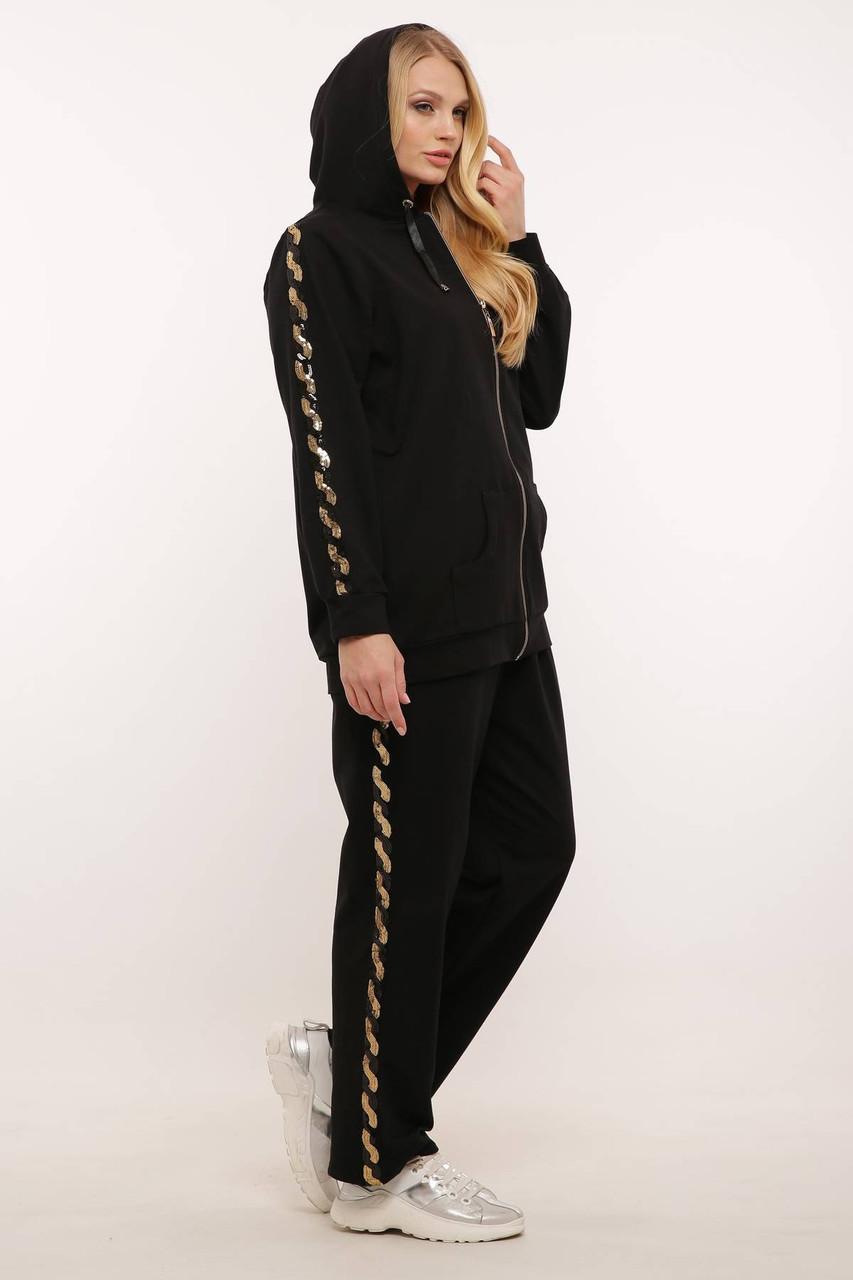 Спортивный костюм (золотая змейка) ДОЛЬЧЕ черный (56-60)
