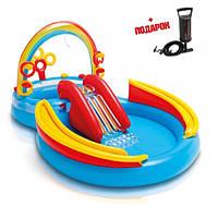 Детский надувной бассейн Intex с горкой и фонтаном - надувной игровой центр