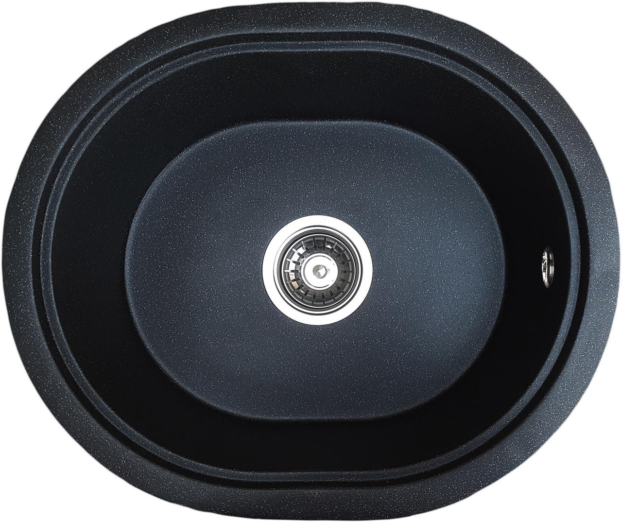 Интегрированная гранитная мойка Valetti Europe модель №60 черная 51*43