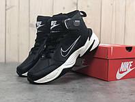 Кроссовки мужские в стиле Nike M2K Tenko Mid код товара Z-1592. Черные с белым