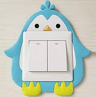 Интерьерная наклейка на стену  (включатель, выключатель, розетку) в детскую Пингвин R027