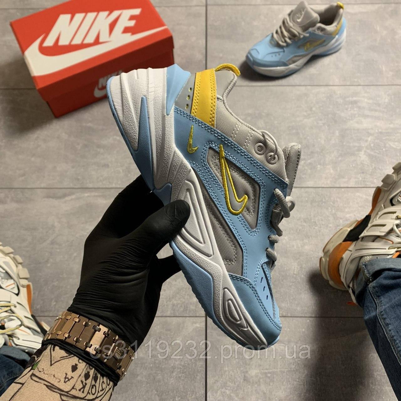 Женские кроссовки Nike M2K Tekno Half Blue/Chrome Yellow (желто-голубые)