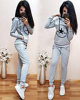 Женский спортивный костюм турецкая двухнитка, есть большие размеры S/M/L/XL//2XL/3XL/4XL (серый), фото 1