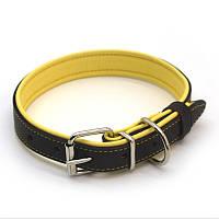 Ошейник для собак кожаный двойной ОД Soft коричневый+желтый