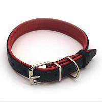 Ошейник для собак кожаный двойной ОД Soft черный+красный