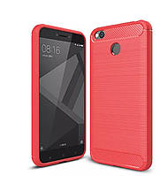 Чехол Carbon для телефону Xiaomi Redmi 4x силиконовый карбон TPU на ксиоми сяоми редми 4х красный