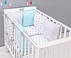 """Комплект постельных принадлежностей в кроватку (17 предметов) """"Незабудка"""" (белый/голубой) ТМ """"Хатка"""""""