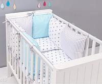 """Комплект постельных принадлежностей в кроватку (17 предметов) """"Незабудка"""" (белый/голубой) ТМ """"Хатка"""", фото 1"""