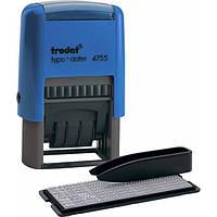 Текстовый штамп самонаборной прямоугольный 2-х строчный с датой Trodat 4750 (4755) синий