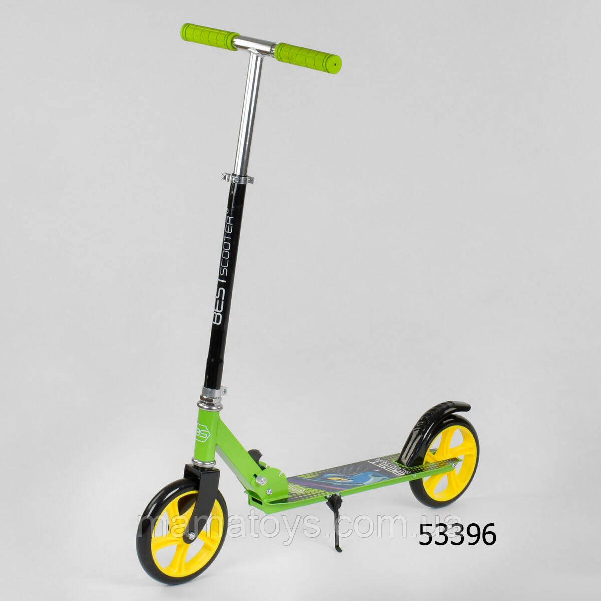 Самокат двухколесный Best Scooter 53396 Салатовый колеса PU - 20 см, грипсы резиновые