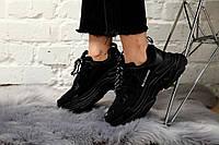 Кроссовки женские Balenciaga Triple S в стиле Баленсиага Трипл С, замша, текстиль код KS-1719. Черные