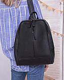 Рюкзак женский черный кожаный М260black молодежный из натуральной кожи, фото 6