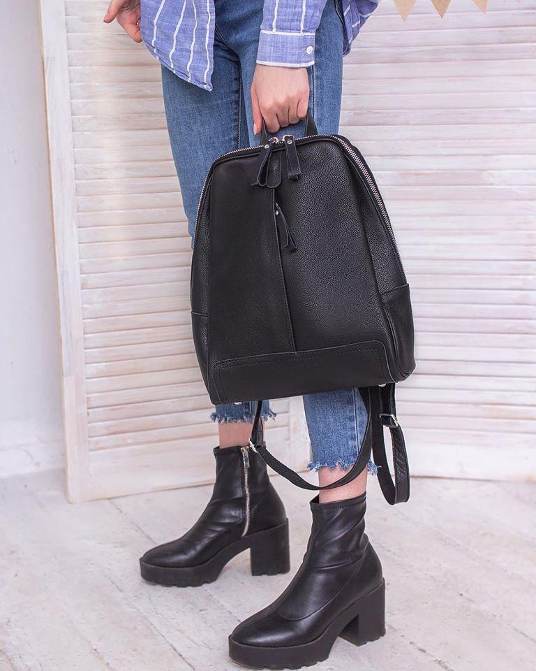 Рюкзак женский черный кожаный М260black молодежный из натуральной кожи