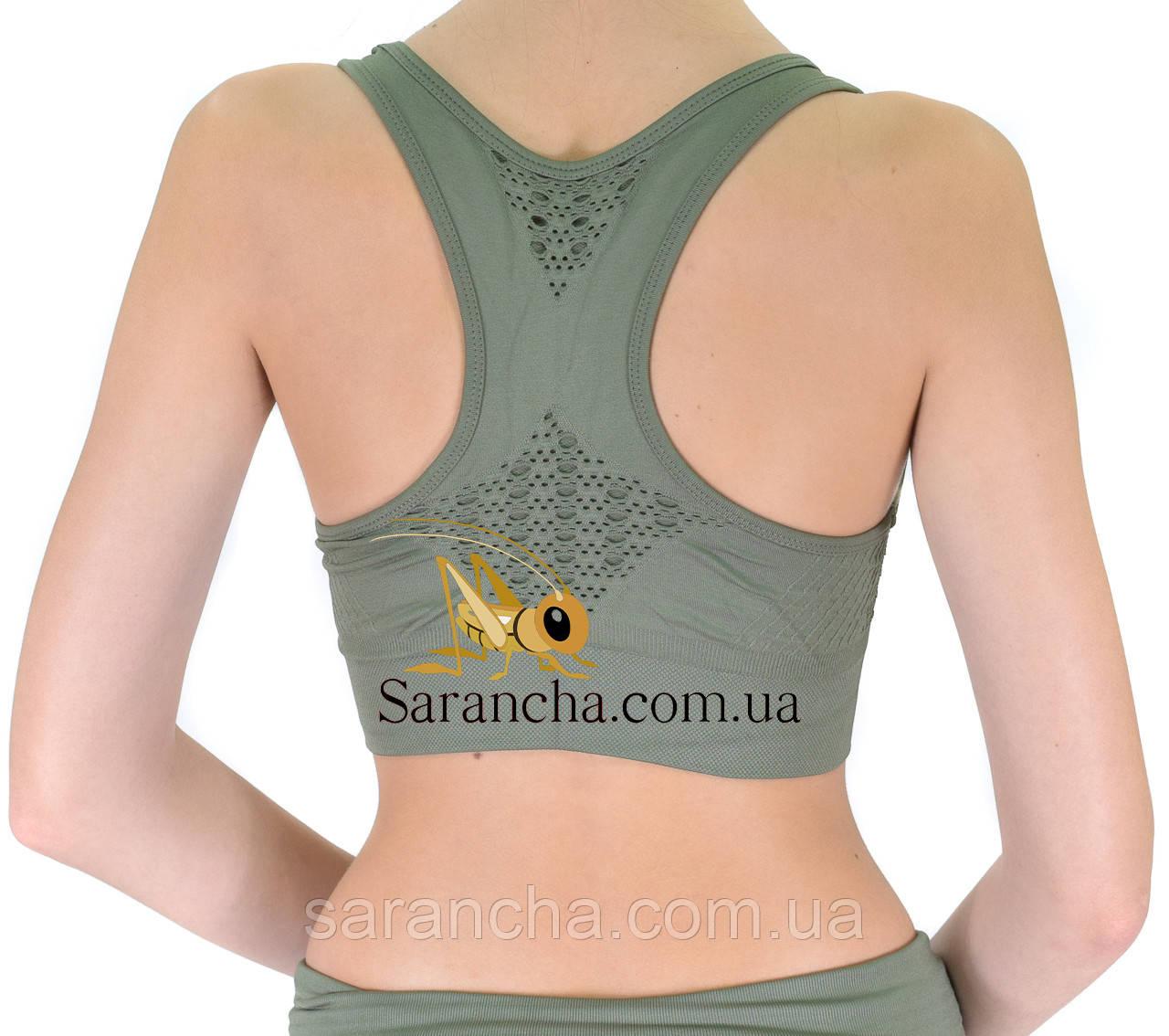 Женский тренировочный с перфорацией топик цвет олива