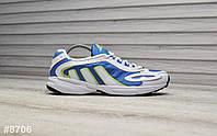 Кроссовки мужские Adidas Galaxy в стиле Адидас Гелекси, натуральная кожа, текстиль код TD-8706. Белые с синим
