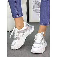 Женские кожаные кроссовки белые с серебряными вставками, фото 1