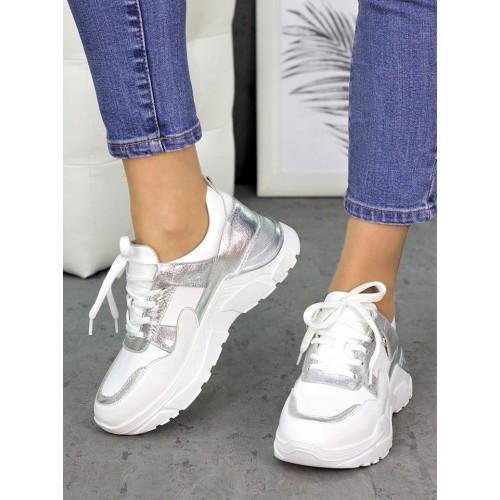 Женские кожаные кроссовки белые с серебряными вставками