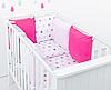 """Комплект постельных принадлежностей в кроватку (17 предметов) """"Золушка"""" (белый/розовый/малиновый)"""