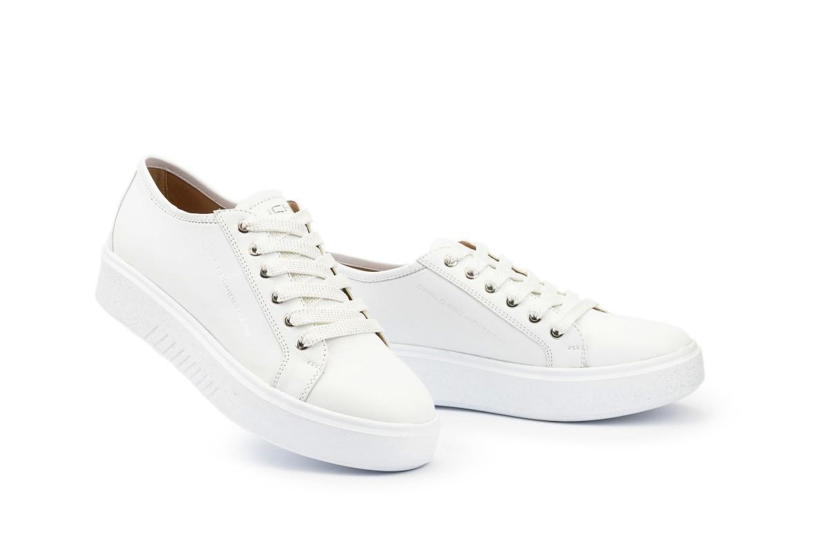 Женские кроссовки кожаные весна/осень белые Calo Pachini 4503/20-91