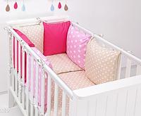 """Комплект постельных принадлежностей в кроватку (17 предм.) """"Иридесса"""" (бежевый/розовый/малиновый), фото 1"""