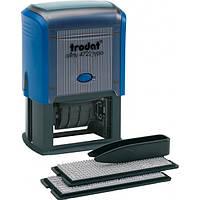 Текстовый штамп самонаборной прямоугольный 4-х строчный с датой Trodat 4729T синий