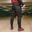Карго штаны черные с лямками подростоковые размеры (чорні штани для підлітків), фото 3
