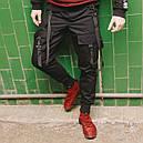 Карго штаны черные с лямками подростоковые размеры (чорні штани для підлітків), фото 2