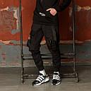 Карго штаны мужские зауженные черные с лямками (брюки с манжетом), фото 4