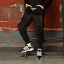 Карго штаны мужские зауженные черные с лямками (брюки с манжетом), фото 5