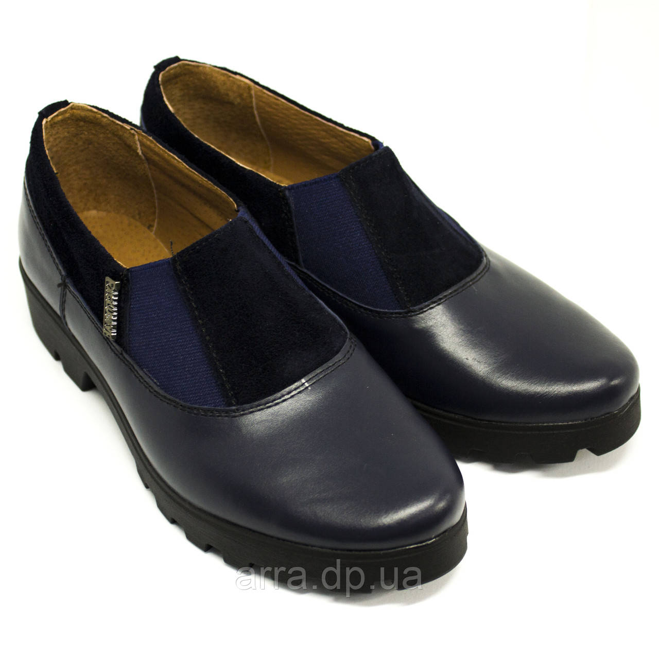 Туфли женские синие кожаные с замшевыми вставками
