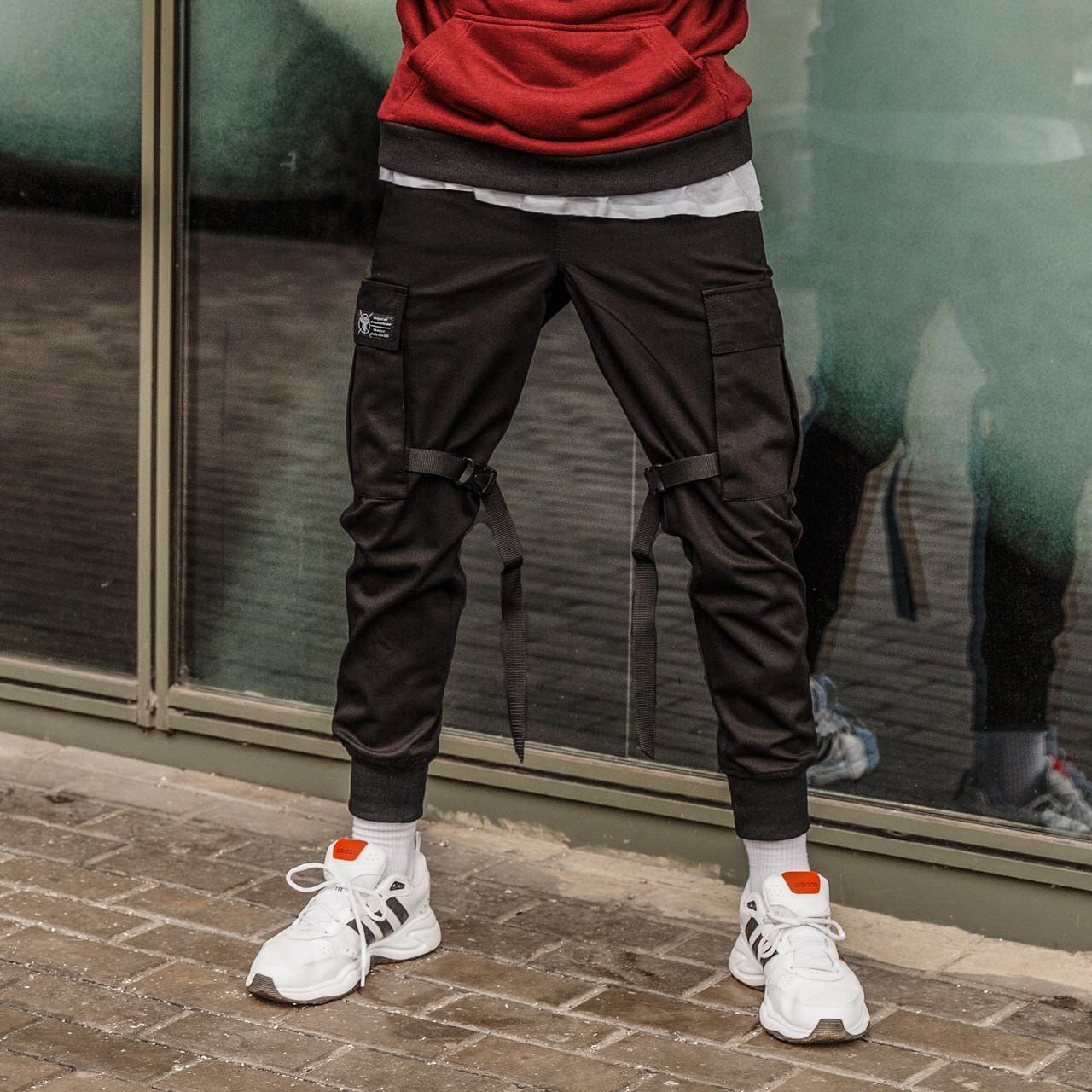 Зауженные карго штаны (джоггеры) с лямками черные мужские от бренда ТУР Ёсимицу (Yoshimitsu)